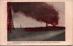 Sapulpa Oklahoma~55000 Barrel Oil tank~Struck by Lightning~Fire~Oil Well Rig~'09
