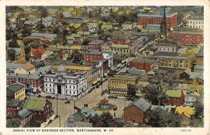Martinsburg West Virginia Business Section Aerial View Antique Postcard K34812