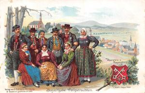 Heraldic postcard Kingdom of Bavaria bavarian national costume Regensburg