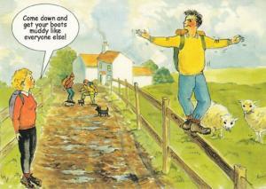 Boy Performing Acrobat Stunts By Farm Wall Manure Sheep Comic Humour Postcard