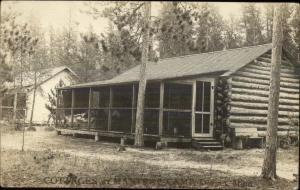 Dorset MN Mantrap Camp Log Cabin c1910 Real Photo Postcard