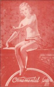 Nude Sexy Showgirl Pin-Up Exhibit Mutoscope Card RED TINT SERIES ORNAMENTAL