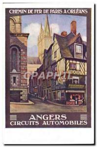 Postcard Old Train Paris Railway has Orleans Road Racing Angers