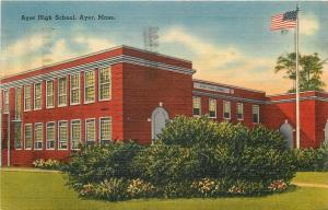 Ayer Massachusetts~Huge Shrubs @ Ayer High School 1942 Linen