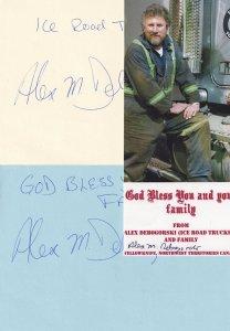 Alex Debogorski Ice Road Truckers 3x Hand Signed Autograph Letter Bundle