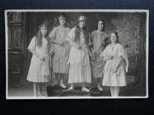 Portrait GIRLS AS FAIRIES 1920s RP Postcard by Thirlwell of Stockton Middlesboro