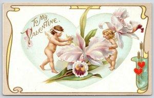 Valentine~Tiny Cupids Play Blind Man's Bluff Around Lavender Iris Flower~Wessler