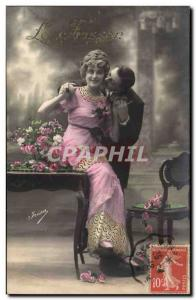Fantasy - Couple - The Thrill - nice dress - fashion - style - Old Postcard