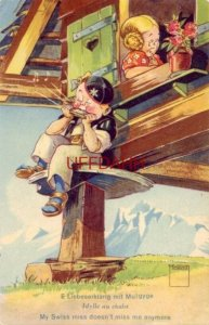 1951 MINOUVIS ILLUSTRATION MY SWISS MISS DOESN'T MISS ME ANYMORE pm Switzerland