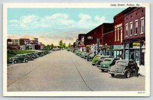 Fulton Kentucky~Lake Street~L Kasnow~Electric Light Co~Cafe~Wines~1941 Linen PC