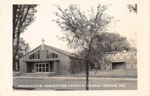 Macon Missouri~Immaculate Conception Catholic Church~Brick Paved Street~'66 RPPC