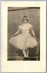 MAN DRESSSED AS A WOMAN VINTAGE REAL PHOTO POSTCARD RPPC