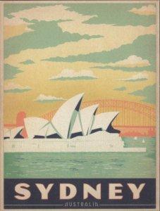 Sydney, Australia, Opera House, Retro Travel Poster Style, Postcard Z328965