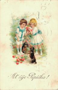 Kids with puppys Vintage Litho Postcard 02.87