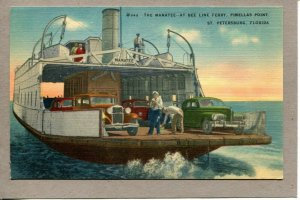 Postcard FL St. Petersburg Manatee Bee Line Ferry Pinellas Point Cars -262