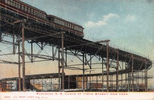 Elevated Rail Road Curve at 110th St., Manhattan, N.Y.C., Early Postcard, Used