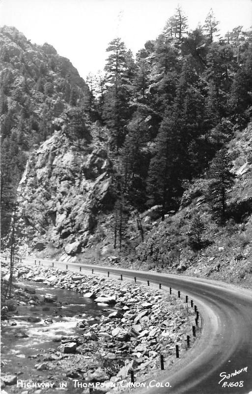 Thompson Canyon Colorado~Highway Winds Through Mountains~1940s Sanborn RPPC