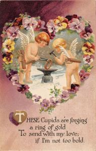 F12/ Valentine's Day Love Holiday Postcard c1909 Blacksmith Cupid Anvil 16