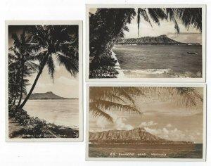 (3) Diff. RPPC's, Honolulu, Hawaii, Early Views of Diamond Head
