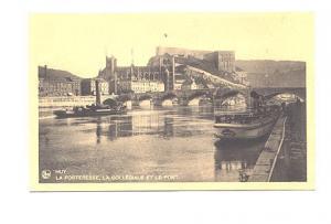 Bridge, Fortress and School, Boats at Dock, Huy, Belgium,