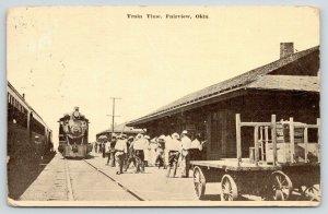 Fairview Oklahoma~Train Time~Folks Wait on Depot Platform~Steam Locomotive~1912