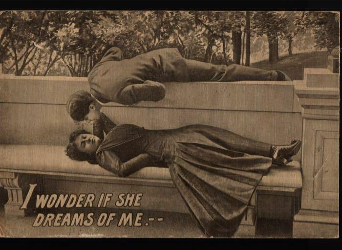 Galion OH Romance Does She Dream of Me? Neona Finigal Comic Vintage Postcard B06