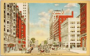 Louisville KY Kentucky View of Broadway Unused Linen Postcard F61