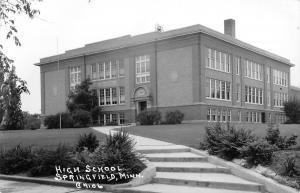 Springfield Minnesota~Long,Wide Steps to High School on Hill~Postcard RPPC c1950