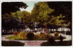 c1910 DELAWARE Ohio Postcard CITY PARK Fountain County