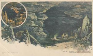 MAMMOTH CAVE , Kentucky, 1905; Caves and people in rowboat