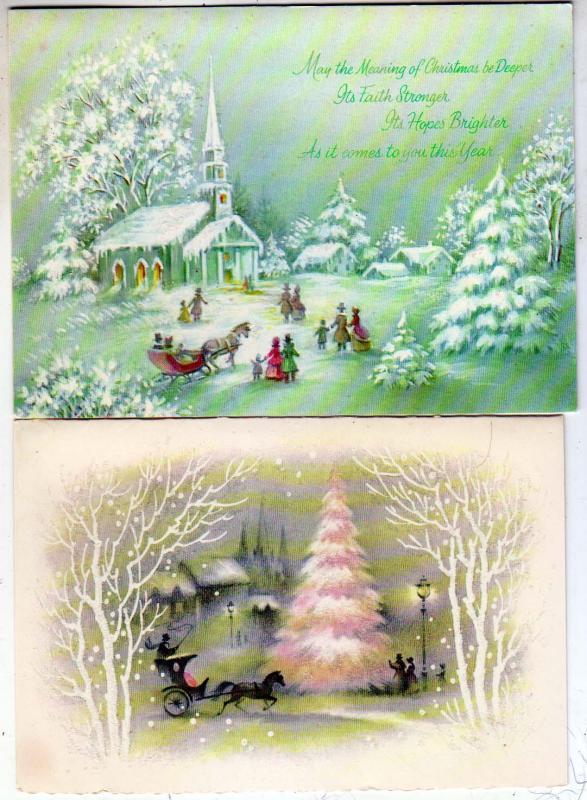 2 - Christmas Cards, Glass Beaded