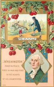 Patriotic~George Washinton~First In War~Peace~Boy With Father~Cherry~Emboss~1910