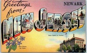 Newark, NEW JERSEY Large Letter Postcard State Capitol & Flower Tichnor Linen