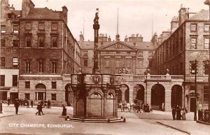 Scotland, UK Old Vintage Antique Post Card City Chamebrs Edinburgh Unused