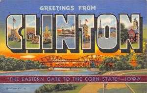 Clinton Iowa~Large Letter Linen~Eastern Gate to the Tall Corn State~Bridge