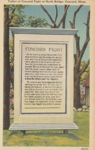 CONCORD, Massachusetts, 1930-40s; Tablet of Concord Fight at North Bridge
