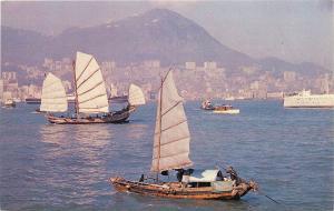 Chinese Fishing Junk Hong Kong boats Harbor Postcard