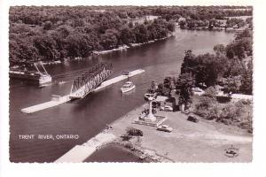 Aerial Real Photo, Swing Bridge Open, Boats, Cars, Trent River, Ontario, Spli...