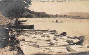 F55/ Oneonta New York RPPC Postcard c1910 Electric Lake Boat Dock