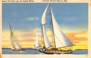 Crystal Beach Manor Maryland Sail Boat Linen Antique Postcard K44187