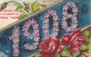 NEW YEAR, PU-1907; Red Roses, Pink Flowers 1908