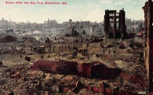 Scene After The Big Fire, Baltimore, Maryland, Early Postcard, Unused