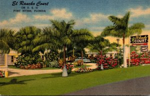 Florida Fort Myers El Rancho Court 1953 Curteich