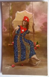 VINTAGE HANDPAINTED POSTCARD. FRISA No. 3448. WRITTEN. WITHOUT STAMP.