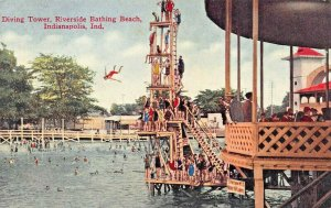 INDIANAPOLIS RIVERSIDE BATHING BEACH  & DIVING TOWER-LOT OF 2 POSTCARDS