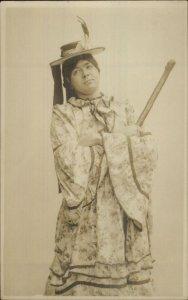 Crossing Gay Interest Man in Dress or Kimono c1910 Real Photo Postcard