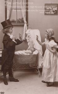 Children Playing Doctors & Nurses Game Doll Real Photo Postcard