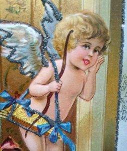 Valentines Day Postcard Cupid Angel Series No 1 Embossed Glitter Echo Of Love
