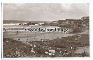 tq0176 - Cornwall - Bathers enjoying Crooklets Beach Cove, in Bude - Postcard