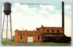 Kiowa Kansas~Electric Light & Water Plant~Tower~Missouri Pacific RR Car~1912 PC